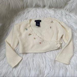 Ralph Lauren ivory floral wrap knit sweater 18M